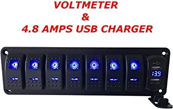 Switchtec 2 3 5 7 Gang Rocker Switch Aluminum Panel with 4.8 Amps Dual USB Fast Charger with Voltmeter, Blue Backlit Led, Pre-Wired for Marine, Boat, Car, Truck (4.8A USB & 7 Switches Blue)