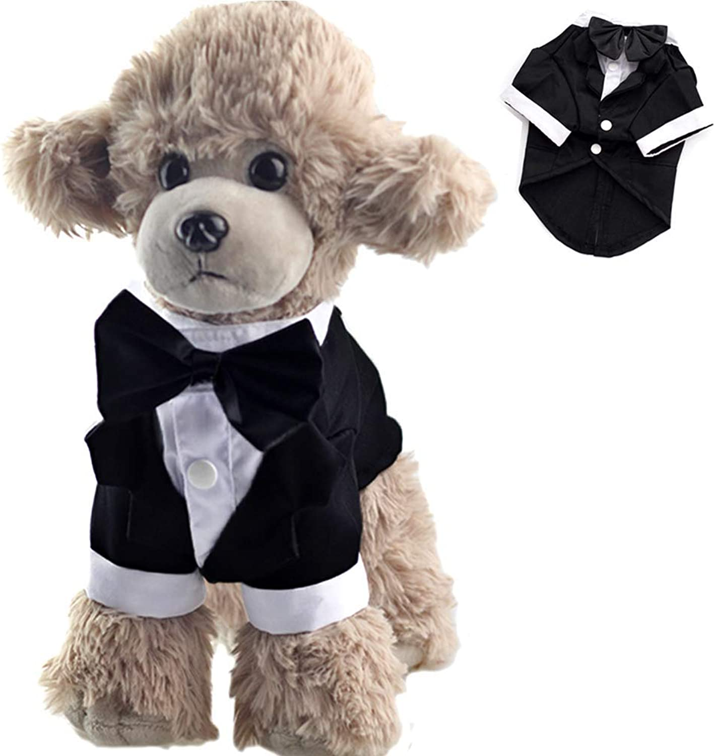 ANIAC Formal Suit Wedding Party Tuxedo Black BowKnot White Collar Stylish Tail Clothes Cats Dogs (XXLarge)