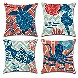 Jotom Kissenbezüge, quadratisch, Baumwolle, Leinen, dekorativer Kissenbezug für Zuhause, Bett,...