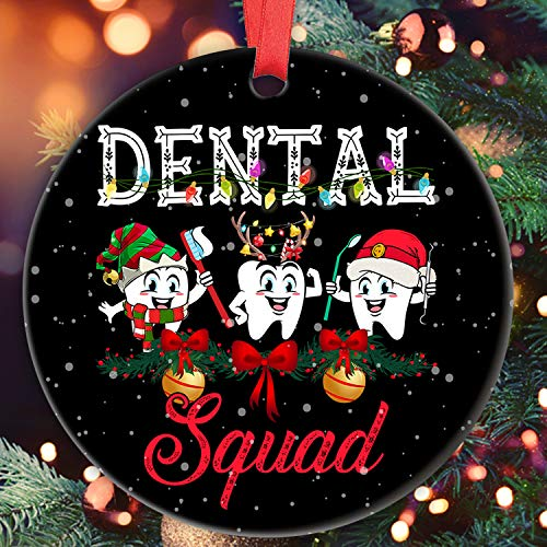'N/A' Dental Hygiene Ornament Dental Ornament Dental Squad Funny Three Tooth Santa Hat Dentist Gift Ornament for Dentist Assistant Ceramic Christmas Tree Decoration