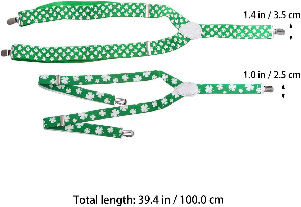 2PCS 2.5CM/3.5CM Width Clover Printed Suspenders Adjustable Three Clip Suspenders Stretchy Clover Suspenders St. Patrick's Day Suspenders for Adults Women Men Use for Party Supplies