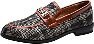 Men's Premium Genuine Leather Shoes with Gold Buckle Textured Casual Slip on Horsebit Loafers