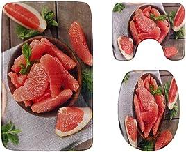 Ripe Pink Grape Grapefruit Bathroom Rug Mats Set 3-Piece,Soft Shower Bath Rugs,Contour Mat and Toilet Seat Lid Cover Non-S...