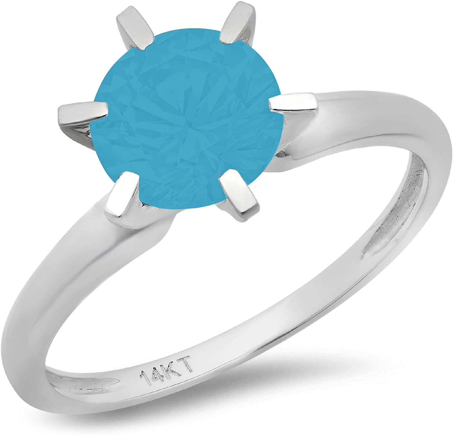 0.9ct Brilliant Round Cut Solitaire Flawless Simulated Cubic Zirconia Blue Turquoise Ideal 6-Prong Engagement Wedding Bridal Promise Anniversary Designer Ring in Solid 14k white Gold for Women