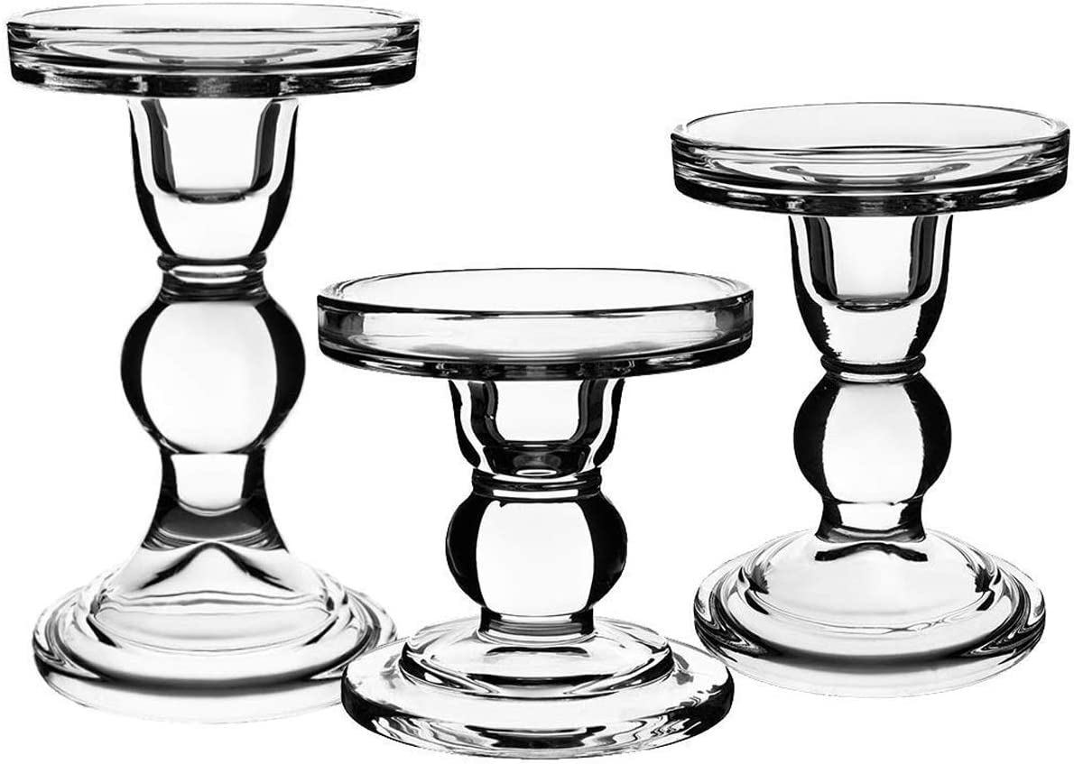 Centanni Essentials Clear Glass Time sale Candle Oklahoma City Mall Holders of Pill for Set 3