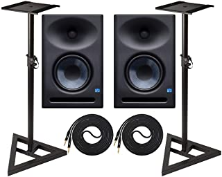 PreSonus Eris E7 XT 6.5-inch Pair 2-Way Studio Monitors with EBM Wave Guide Design and Ultimate Support Adjustable Stable Stands with 2 Instrument Cable Set