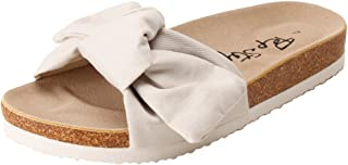 PepStep Slide Sandals for Women/Cork Sole/Canvas Knot Bow/Womens Slides/Sandals for Women
