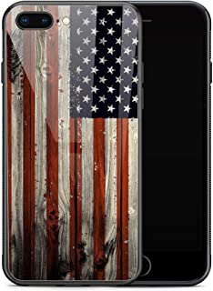 iPhone SE 2020 Case,Red Wood American Flag for iPhone 8 Case,Men Boy iPhone 7 Cases,Tempered Glass Back Pattern with Soft TPU Bumper Case for Apple iPhone 7/8/SE2 Case 4.7-inch Red Wood USA Flag