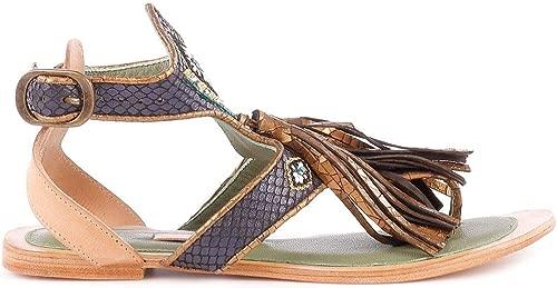 Damen 640320SNAKEBlau Blau Leder Sandalen