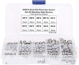 200 stks M3/M4/M5/M6/M8 RVS Flat Point Hex Socket Grub Schroef, Socket Hex Grub Schroef set, met Opbergdoos, voor Diverse ...