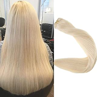 Full Shine 24 inch 100% Real Remy Human Hair Weft Extensions Double Wefted Straight Hair Weft Bundle Full Head Color #60 Plautinum Blonde 100g Each Bundle