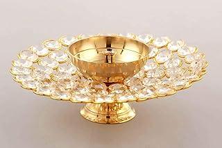 CraftVatika Crystal Akhand Diya Oil Puja Lamp Decorative Round for Home Office Gifts Pooja Articles Decor (Medium)