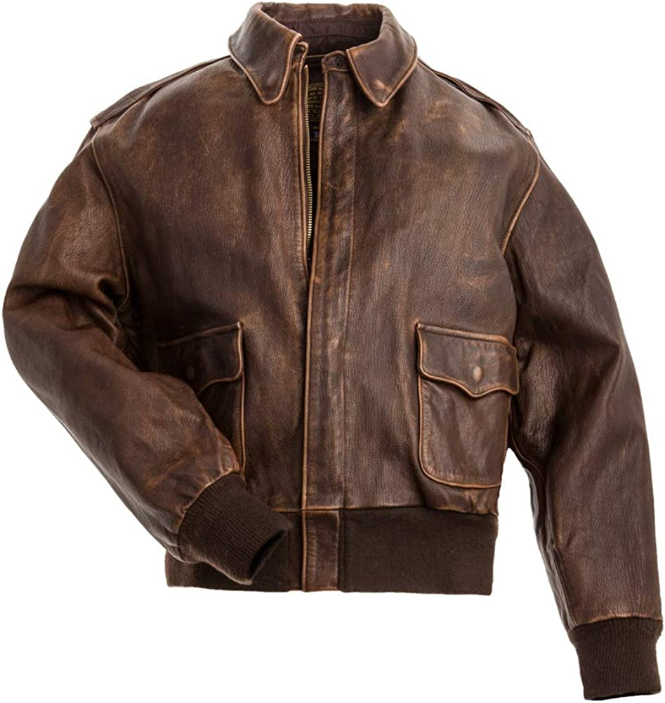 Mens A-2 Leather Bomber Jacket - WWII Aviator Flight Pilot Brown Leather