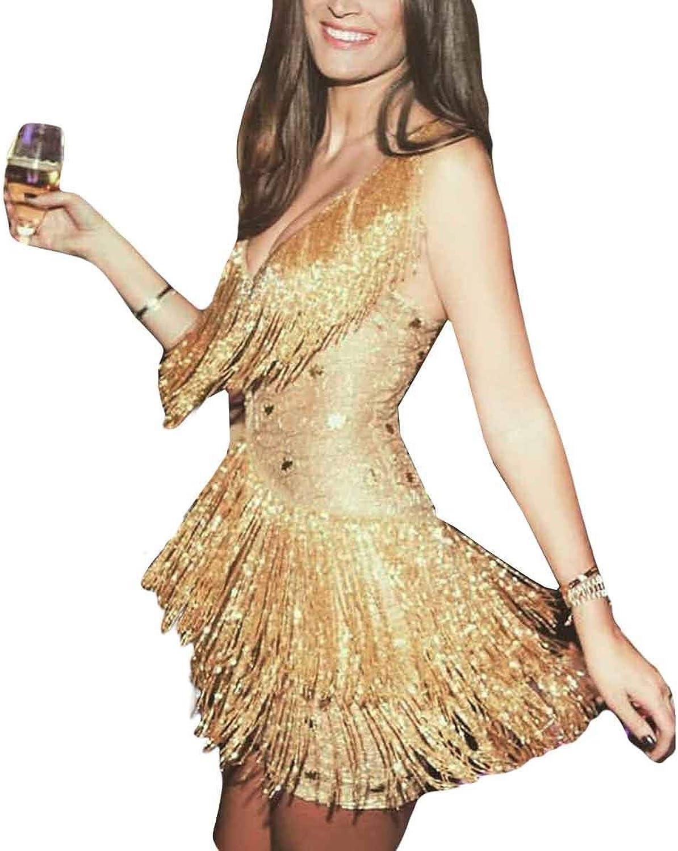 CNBJMAZA Spaghetti Strap Tassel Mini Dress Sexy High Waist V Neck Long Sleeve Clubwear