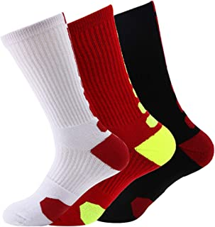 Mens Cushioned Basketball Socks Athletic Crew Socks Long Sports Outdoor Socks Compression Socks, 3 Pack