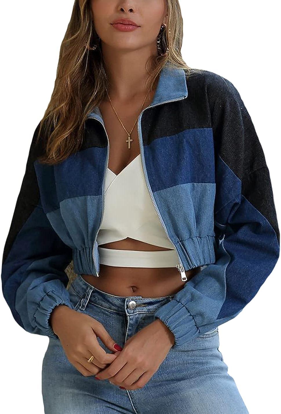 Omoone Women's Cropped Denim Jackets Zip Up Long Sleeve Color Patchwork Jean Coats