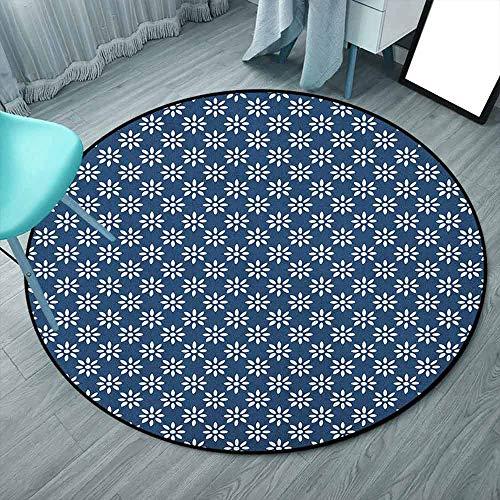 Alfombra de dormitorio holandesa súper acogedora de 1,88 m, redonda, azul marino y blanco, diseño de flores blancas sobre fondo azul, proporciona protección y cojín para suelos (190 x 190 cm)