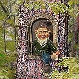 Gartendeko,Elf aus der Tür Baum Hugger, Gartendeko Gnom Zwerg Figur dekorative Ornament Miniatur Harz , Patio Yard Lawn Porch Ornament Geschenk (Alter Mann)
