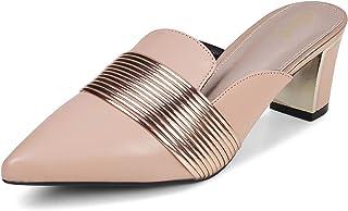 tresmode Womens Pink Block Heel Mules