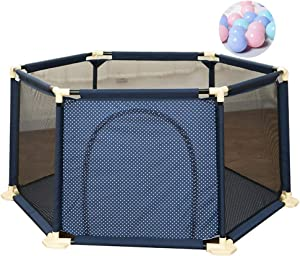 MWPO Baby Playpen Playground Safety Robust Protection Center Activity Nursery Indoor Decor Crawling Creeper Fence Door  with 200 Balls  Brown