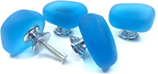 ZILucky Set of 4 Stone Cabinet Drawer knobs Home Nursery Bath Decor Pulls Handles for Dresser Cupboard Wardrobe Cabinet Kitchen Knobs (Light Blue)