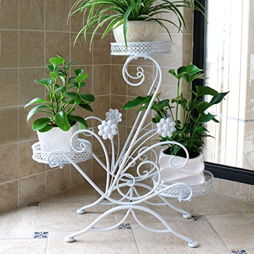 CJH Râtelier de fleurs de prune d'intérieur de plusieurs étages Rack de balcon en fer forgé d'économie d'espace suspendu Rack de pot de sol vert