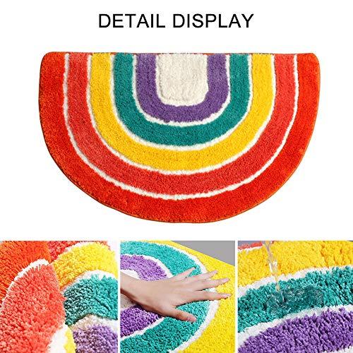 FRFJY Anti-Rutsch-Vorleger Regenbogen -Muster-Halbrund -Bodenmatte für Wohnzimmer Schlafzimmer Dinning Küche Teppiche Fußmatten, 19,6 × 31,4 Zoll