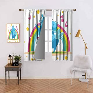 Heat Insulation Curtain Colorful Cartoon Horse with Horn Dancing in Front of The Rainbow Funny Animal Thermal Insulated Blackout Curtains W55 x L39 Inch