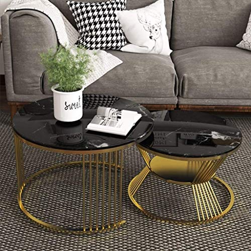 Creative moderne minimalistische salontafel Tafels van 2, Tweede ronde Tier Coffee Table - for Living Room, Bank Bureau, Slaapkamer, Kantoor, Planken Onder Bureau opslag, Faux Marble (zwart) Licht lux