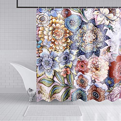 Duschvorhang Set 180x180cm mit Haken, Anti-Schimmel Wasserdicht Antibakteriell Böhmisches Aquarell-Blumenmuster,für Dusche und Badewannen Fäulnisbeständig Langlebig