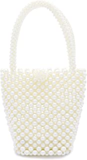 Miuco Womens Purses Handmade Beaded Handbags Pearl Top Handle Bag
