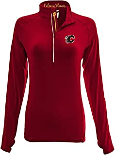 Levelwear LEY9R NHL Calgary Flames Adult Women Energy Banner Stripe Half Zip Mid-Layer, Large, Flame Red