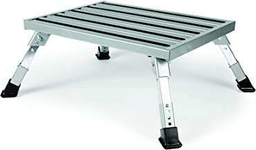 Camco Adjustable Height Aluminum Platform Step-Supports Up to 1,000lbs, Includes Non-Slip Rubber Feet, Durable Construction, Easy Storage and Transport (43676)