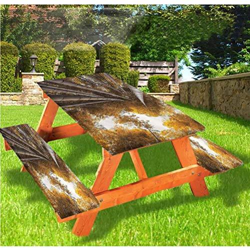 LEWIS FRANKLIN - Cortina de ducha de bambú de lujo, cubierta de mesa de picnic, diseño de paisaje de otoño con borde elástico de bambú, 70 x 72 cm, juego de 3 piezas para mesa plegable