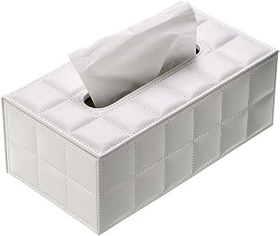 BTSKY 卓上収納 ティッシュケース ティッシュボックス レザー おしゃれ 北欧 高級感 ティッシュ 収納 ケース 家庭用 ホテル用(ホワイト)