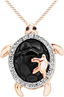 Black & White Natural Diamond Accent Turtle Pendant Necklace 14k Gold Over Sterling Silver