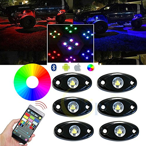 Wiipro RGB LED Rock Lights Bluetooth APP Control with 6 pods Timing & Music & Flashing Neon Lighting Kit for JEEP Off Road Trucks Car ATV SUV Vehicle Boat Interior
