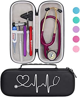BOVKE Travel Carrying Case for 3M Littmann Classic III Stethoscope - Extra Room for Taylor Percussion Reflex Hammer and Reusable LED Penlight, Black