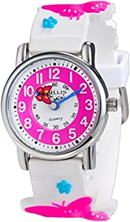 Kids Girls Watches Butterfly Time Teacher Learning Wristwatches 3D Character Band