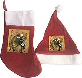 Lao Yang Mai Sinterklaas and Zwarte Piet Vintage Red Christmas Xmas Hat Cap and Stockings Socks Santa Claus Party Themed Accessories Country Vacation Family Decoration Ornament
