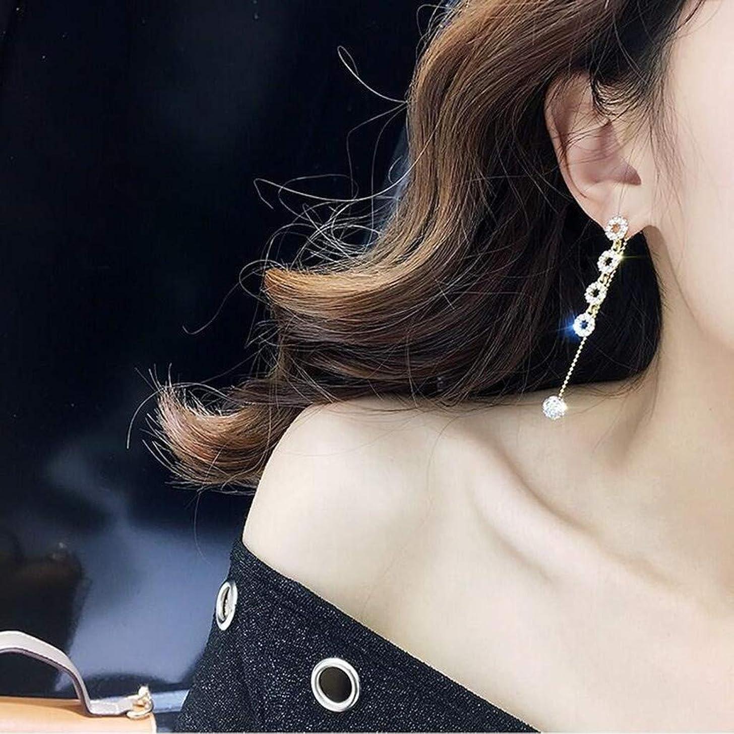 傑出したスナッチチャンバーNicircle ファッションロングタッセルサークルボールタッセルイヤリングジュエリー ファッション トレンド 長いセクション サークル タッセル ラインストーン 分離可能 イヤリングジュエリー Fashion Long Tassel Circle Ball Tassel Earrings Jewelry