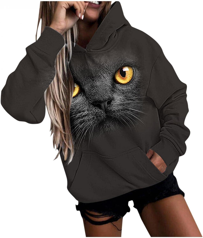 Toeava Sweatshirt for Women Casual Hoodies Long Sleeve 3D Cat Graphic Pullover Tops Loose Sweatshirts with Pocket