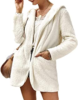 Womens Long Sleeves Lapel Zipper Up Faux Shearling Shaggy Oversized Coat Jacket