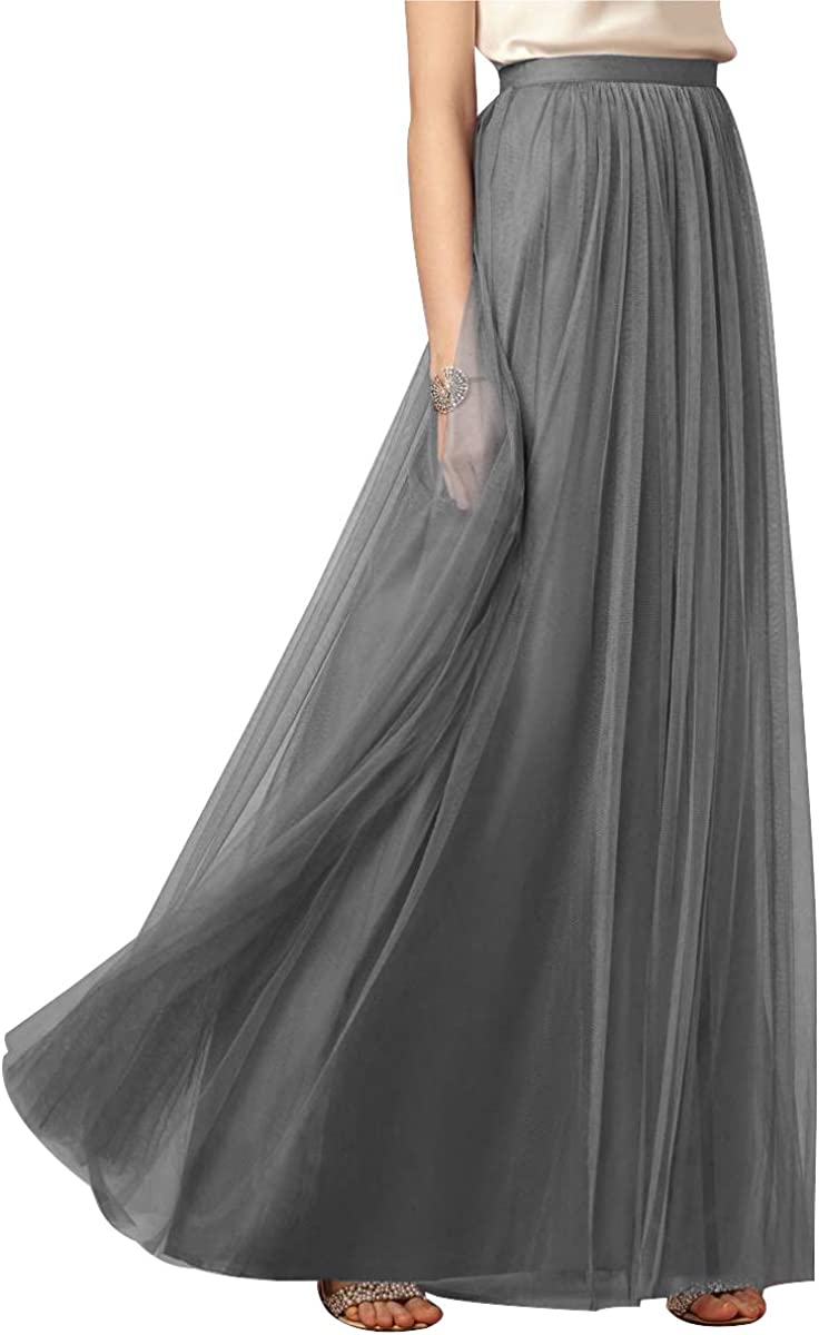 Half Length Solid Color Wild Elastic Tulle Skirt