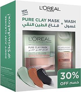 L'Oréal Paris Pure Clay Red Face Mask + Wash - Red Algae, Exfoliates And Brightens Pores