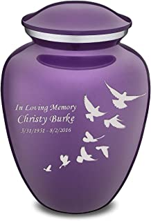 GetUrns Adult Embrace Doves Cremation Urn for Ashes with Custom Engraving (Purple)