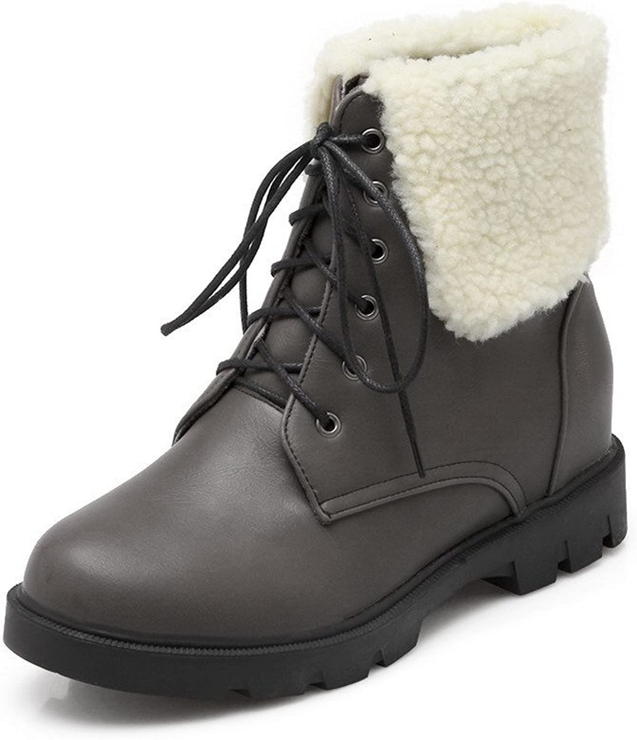 WeiPoot Women's Low Top Lace Up Kitten Heels Round Toe Boots
