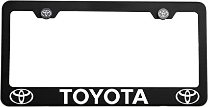 Circle Cool One Matte Black Stainless Steel License Plate Frame Holder Front Or Rear Bracket Laser Engrave Fit Toyota with Logo Aluminum Screw Cap