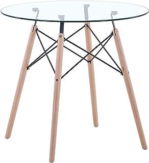 Uderkiny Table à Manger avec comptoir en MDF/Verre, Table Ronde pour 2-4 Personnes, adaptée à la Table de Balcon de la Cui...