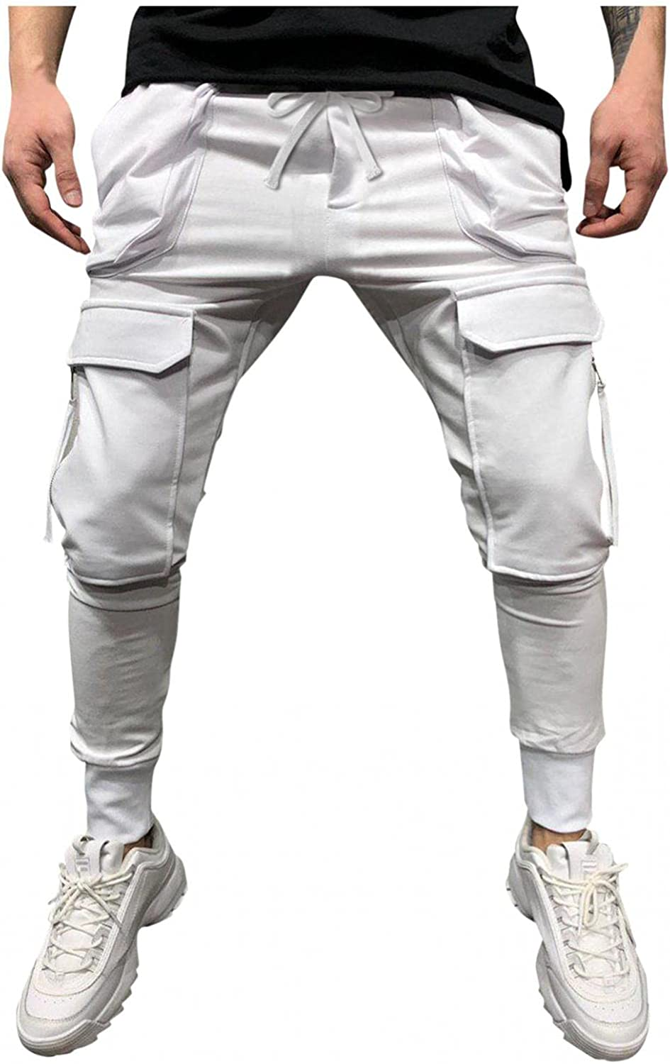 Huangse Men's Casual Sports Pants Workout Sport Sweatpants with Zipper Pockets Personality Hip-Hop Fitness Long Pants